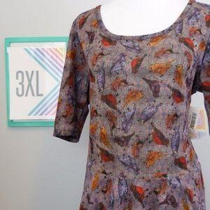 LuLaRoe Nicole Dress ADORABLE bird print 3X